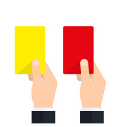 soccer referees hand with red and yellow card vector image
