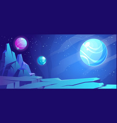 Space background with planet landscape and stars vector