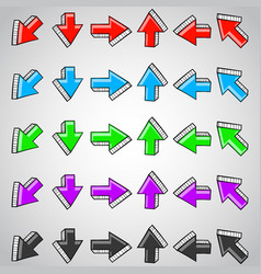 straight arrows colored set hand drawn doodles vector image
