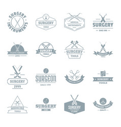 Surgery tools logo icons set simple style vector