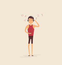 Teenager boy with headphones amp mobile phone vector