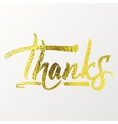 Thanks - Calligraphic phrase written in gold vector image