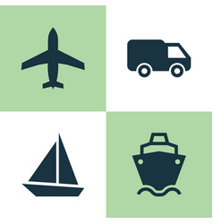 transport icons set collection of yacht aircraft vector image