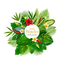 Tropical palm leaves and summer flowers vector