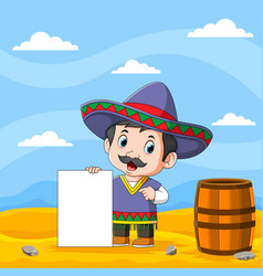 uncle in mexican costume holding vector image