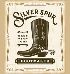 vintage western bootmaker label graphics vector image