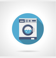 washing clothes flat round icon vector image