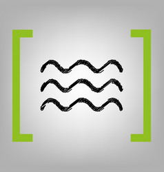 Waves sign black scribble vector
