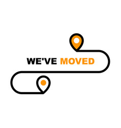 we have moved icon - resettlement relocation and vector image