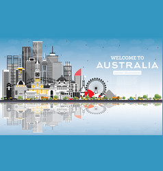 welcome to australia skyline with gray buildings vector image