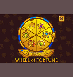Wheel fortune in egyptian style for ui game vector