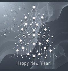 white fir tree made connected lines and dots vector image