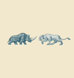 woolly rhinoceros and european cave lion panthera vector image