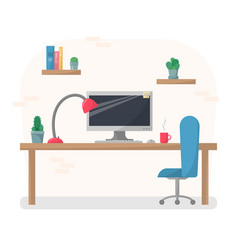 working place in flat style computer vector image