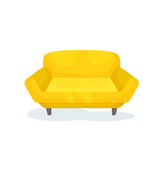 Yellow cozy sofa living room furniture interior vector