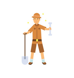 archaeologist standing with shovel and big bone in vector image vector image