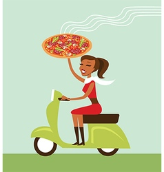 courier deliver hot pizza vector image