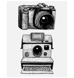 Instant and modern photo camera vintage engraved vector