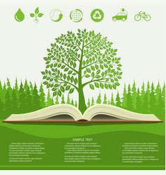 ecology info graphics modern design green tree vector image
