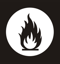 fire flame icon black icon isolated on white vector image vector image