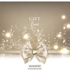 Gorgeous gift card with white bow and copy space vector