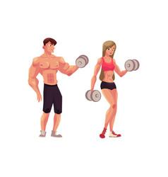 man and woman bodybuilders weightlifters working vector image vector image
