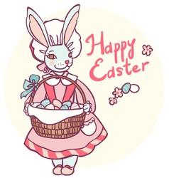 postcard rabbit holding a basket of Easter eggs vector image