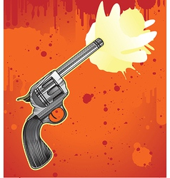 revolver in engraving style - vector image vector image