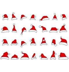santa hats doodles vector image vector image