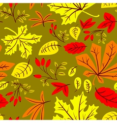 autumn seamless pattern with many kinds of leaves vector image vector image