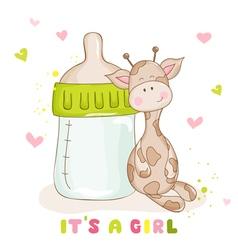 Baby Shower Card - Cute Baby Giraffe vector image vector image