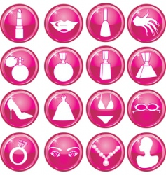 beauty button icons vector image vector image