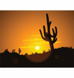 cactus sunset vector image vector image