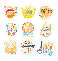 cooking food easy logo design set of colorful vector image vector image