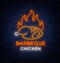 logo chicken barbecue is a neon-style logo for a vector image vector image