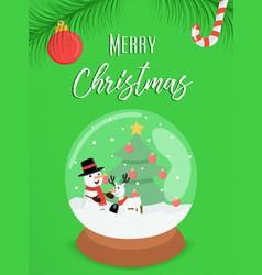 merry christmas snowman snow globe ornament card vector image vector image