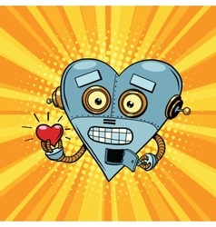 Retro robot heart Valentine love and romance vector image