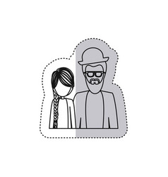 sticker monochrome contour half body with dad with vector image