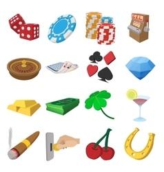 Casino cartoon icons set vector image vector image