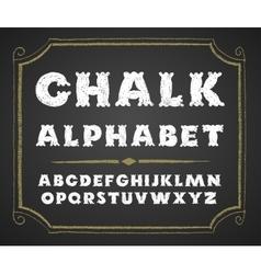 Hand drawn alphabet on chalkboard vector image