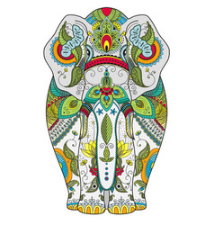 poster with zenart patterned elephant vector image