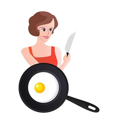 Smiling Woman with Knife end Scrambled Eggs vector image vector image