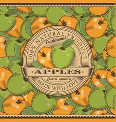 vintage apple label on seamless pattern vector image vector image
