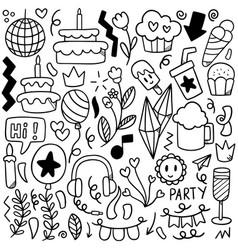 0014 hand drawn party doodle happy birthday vector