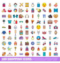 100 shopping icons set cartoon style vector image