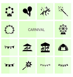 14 carnival icons vector