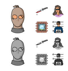 A thief in a mask a bloody knife a hostage an vector