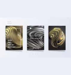 Abstract cover template set with 3d silver and vector