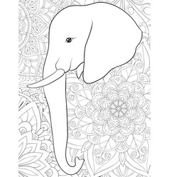 adult coloring bookpage a cute elephant image vector image