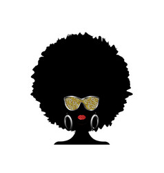 african woman afro curly hair and gold sunglasses vector image